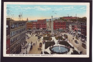 P1415 1935 used postcard traffic people pack square asheville north carolina