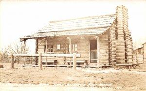 G34/ New Salem Illinois RPPC Postcard c1940s First Restored Post Office Log