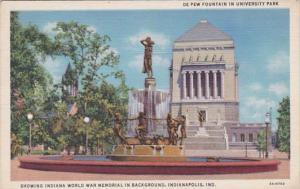 Indiana Indianapolis De Pew Fountain In University Park 1944 Curteich