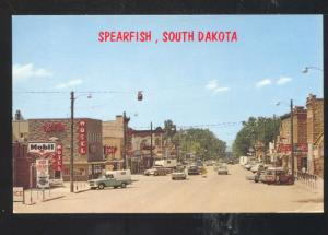 SPEARFISH SOUTH DAKOTA DOWNTOWN MAIN STREET SCENE 1960's CARS VINTAGE POSTCARD