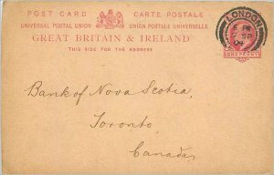 Entier Postal Stationery 1p London in 1904 for Toronto
