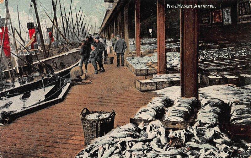 Fish Market, Aberdeen, Scotland, Great Britain, Early Postcard, unused