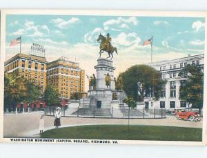 W-Border HOTEL RICHMOND BEHIND WASHINGTON MONUMENT Richmond Virginia VA F2242