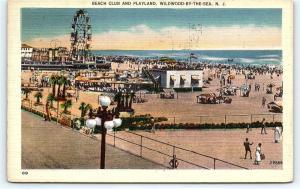 Postcard NJ Wildwood By The Sea Beach Club & Playland Amusement Rides A11