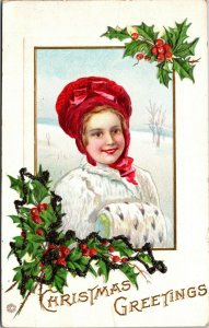 Victorian Merry Christmas Youn Woman and Holly Embossed Vintage Postcard