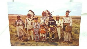 Vintage Postcard Western Native American Indian Family USA