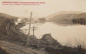 RP: Connecticut River , Vermont , 1909 ; Between Brattleboro & Vernon
