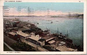 Le Port The Harbour Quebec City QC c1925 Postcard D65