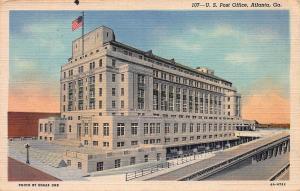 United States Post Office, Atlanta, Georgia, Early Linen Postcard, Unused