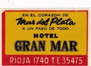 Argentina Mar Del PLata Hotel Gran Mar Vintage Luggage Label sk4073
