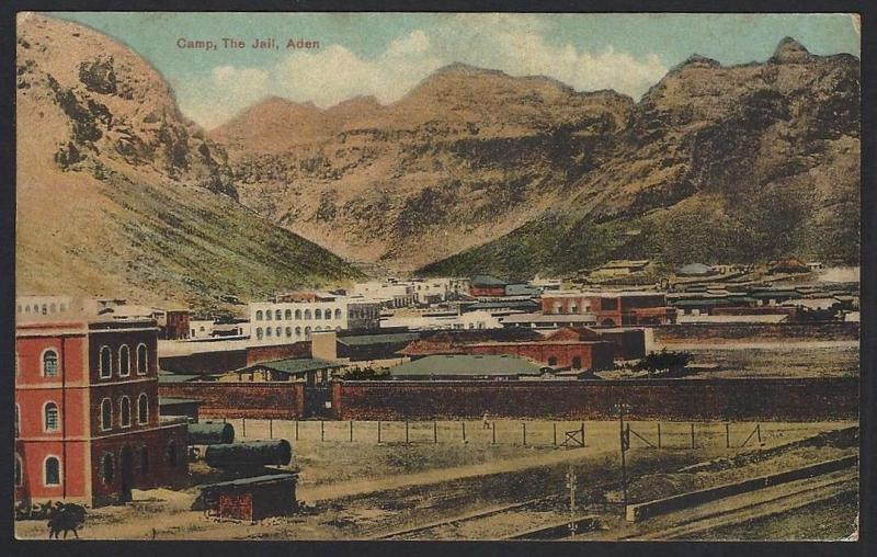 Aden Camp,. The Jail postcard by J.M.Judah.