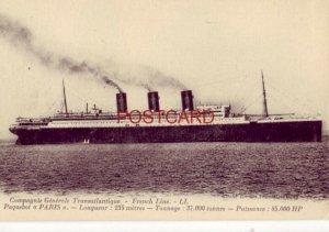COMPAGNIE GEMERALE TRANSATLANTIQUE - FRENCH LINE. PAQUEBOT PARIS