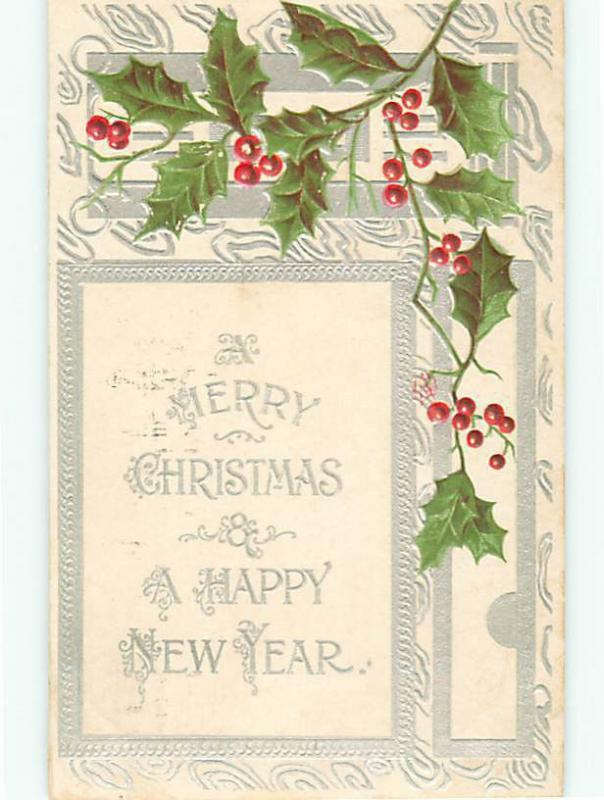 Vintage Post Card Happy ChristmasHolst Embossed Good wishes 1909 Holiday  # 5099