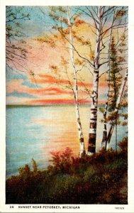Michigan Sunset Near Petoskey 1937 Curteich