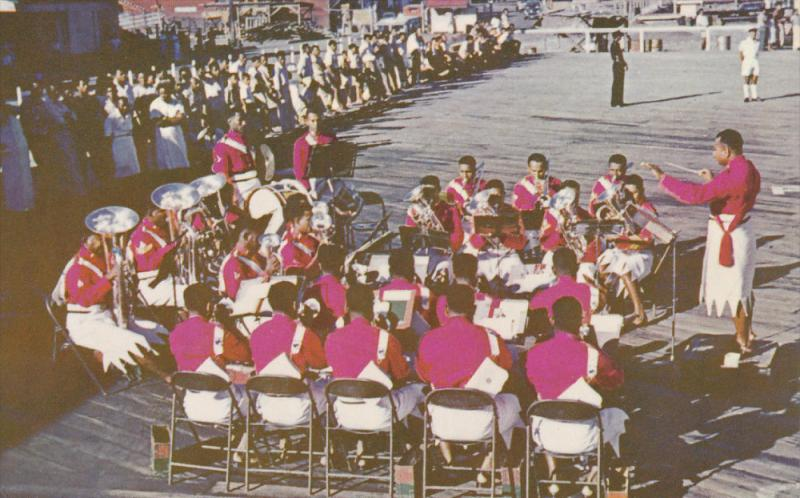 Fiji Military Band on wharf , 50-60s