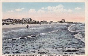 Florida Daytona Beach The Surf And Beach Showing Clarendon Hotel At Seabreeze...