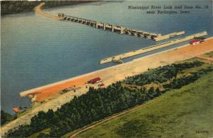 near Burlington, IA, Mississippi River Lock & Dam, 1946 Linen Postcard e3211