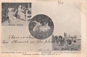 DEPOSIT NEW YORK FAMILIAR SCENES~OLDEN TIMES~LESLIE E CARL PUBL POSTCARD 1907
