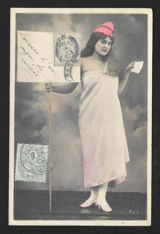 FRANCE Stamps on Postcard Marianne Liberty RPPC Used c1905