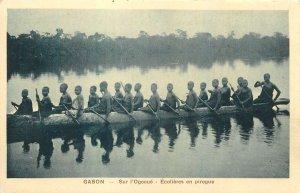 Gabon Postcard Ecoliers en pirogue sur l'Ogooue