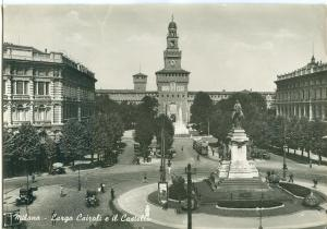 Milano, Largo Cairoli e il Castello, 1954 used real photo