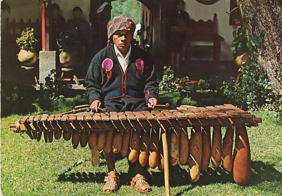 Native Indian Playing Typical Marimba Instrument