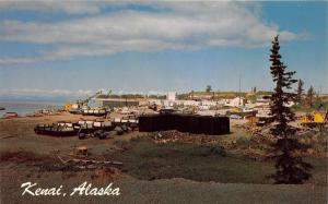 Kenai Alaska~Small Boat Harbor & Dock Area~Cranes-Barrels~1960s Postcard