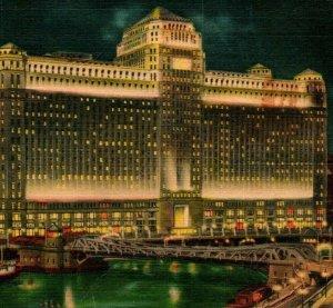 Vtg Linen Postcard Chicago Illinois The Merchandise Mart By Night Curt Teich