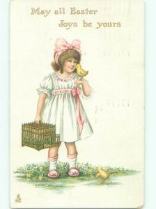 Divided-Back CHILDREN AT EASTER SCENE Great Postcard AA1788