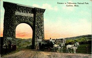 VTG Postcard Yellowstone National Park Montana MT Lava Arch Entrance Gateway UNP