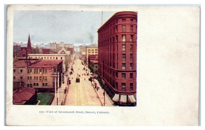 Early 1900s View of Seventeenth Street, Denver, CO Postcard