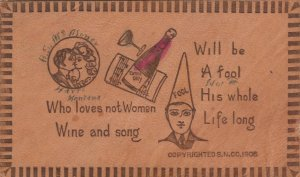 COMIC, Romance, PU-1907; Kissing Couple, Chamgagne, Man with Fool hat