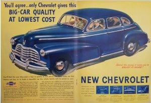 1940's Chevrolet Blue Sedan 2-Page Color Magazine Ad EXL10008