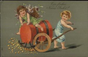 Foreign New Year - Cherubs Paving Street w/ Gold c1910 Postcard