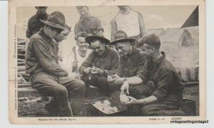 RPPC 1918 Antique Postcard, WWI Recruits on Spud Duty (tears on edges)