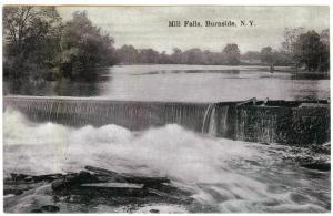 Burnside to Middletown, NY 1908 used Postcard, Mill Falls, purple 4-bar killer