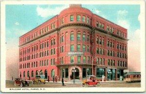 1910s Fargo, North Dakota Postcard WALDORF HOTEL Building / Street View Unused