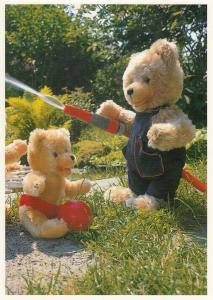 Teddy Bear Bears Gardening Garden Hose Laughing RPC Postcard
