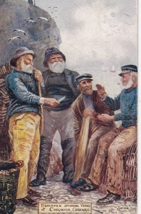 Fishermen spinning Yarns , CADGWITH , Cornwall , 1906 ; Artisy JOTTER