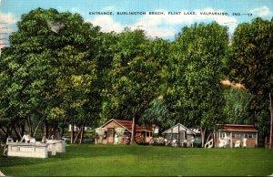 Indiana Valparaiso Flint Lake Entrance Burlington Beach 1939