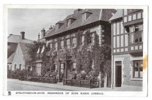 UK Stratford on Avon Marie Corelli Home Vntg Tuck Postcard