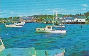 Maine Boothbay Harbor Looking North From The East Side Catholic Church Right ...