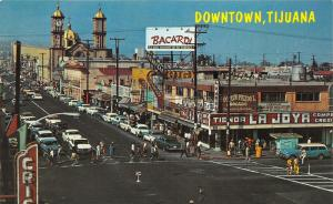 Tijuana Mexico~Second Street~Storefronts~Cathedral~Classic 50s Cars~Postcard