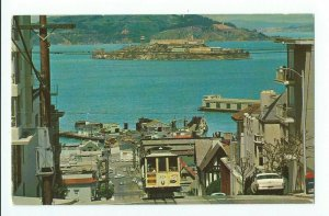 Postcard Cable Car On San Francisco Hill Steep Climb Scene VPC01.