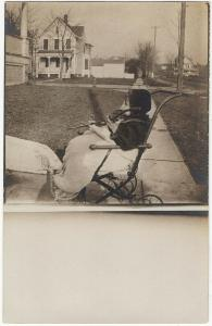 1907-15 RPPC Cute Baby Boy Child Stroller Carriage Outside Real Photo Postcard
