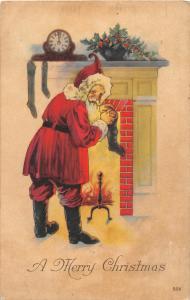 F61/ Santa Claus Merry Christmas Holiday Postcard c1920 Fireplace Stockings 15