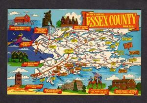 MA Essex County Map MASSACHUSETTS Postcard MASS PC