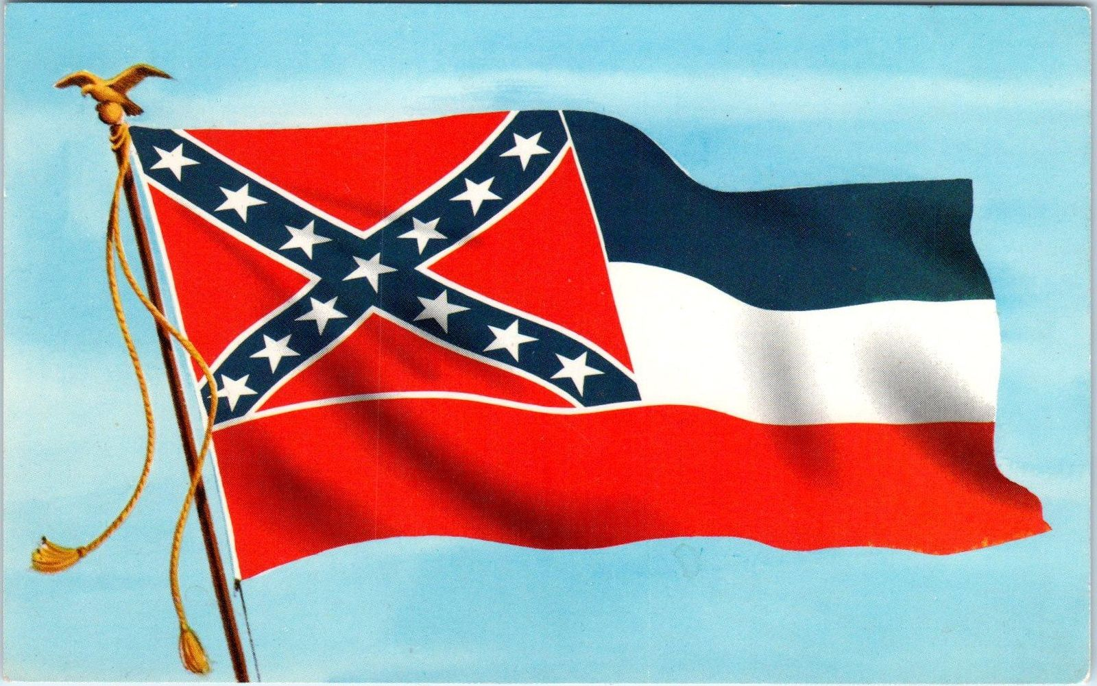JACKSON, MS Mississippi STATE FLAG Postcard c1950s / HipPostcard