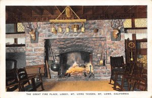 The Great Fire Place Lobby, Mt. Lowe Tavern Mount Lowe CA