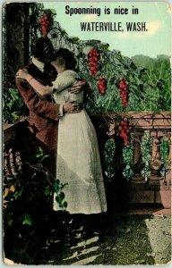 1910s WATERVILLE, Washington Greetings Postcard Spooning is Nice Romance UNUSE